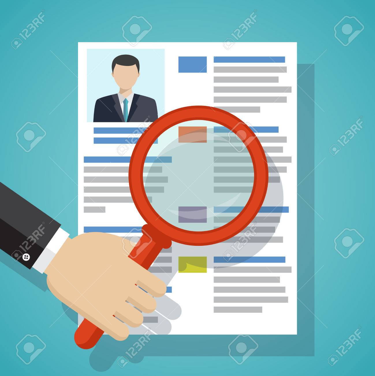 View Resume With Magnifying Glass Hiring Staff Process Vector