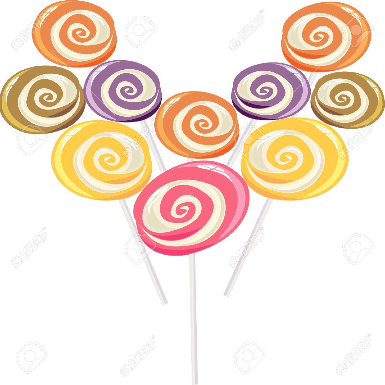 colourful lollipop, heart shape. Stock Vector - 8687487