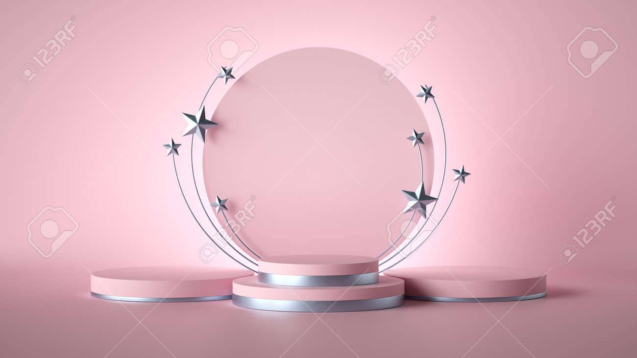 3d render. Abstract pink fashion background decorated with silver stars. blank board, round frame, copy space, cylinder steps, empty podium, vacant pedestal, stage. Award template - 154784709