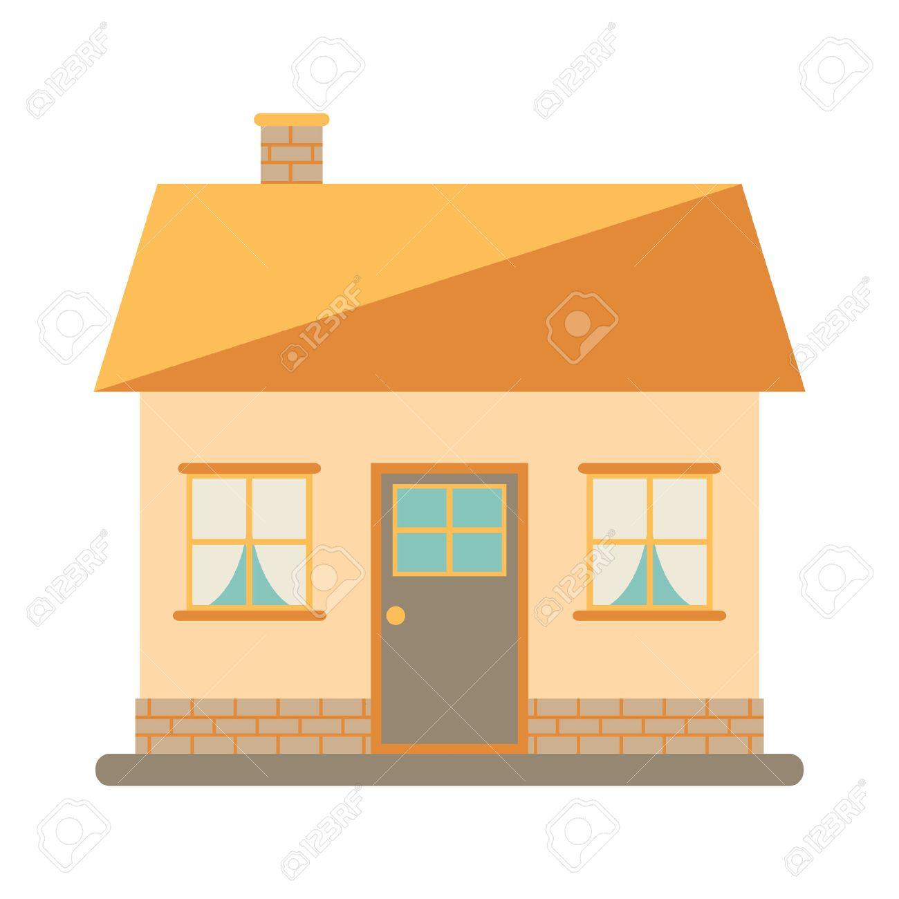 Kleines Nettes Modernes Haus Für Glückliche Familie. Mit Kamin, Dach ...