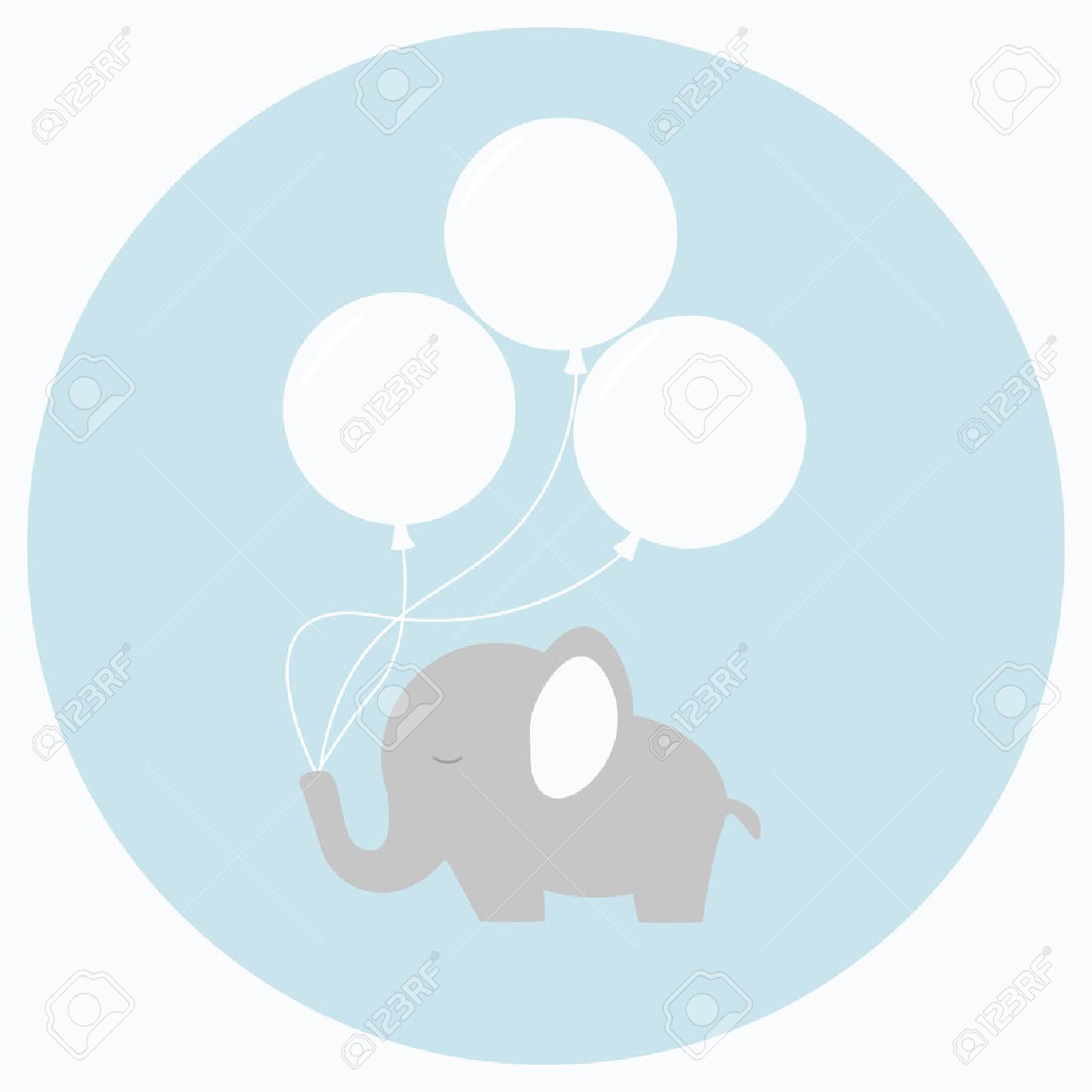 Little baby elephant with big balloons. Baby shower card. Isolated baby elephant on background. Flat style vector illustration. - 50354070