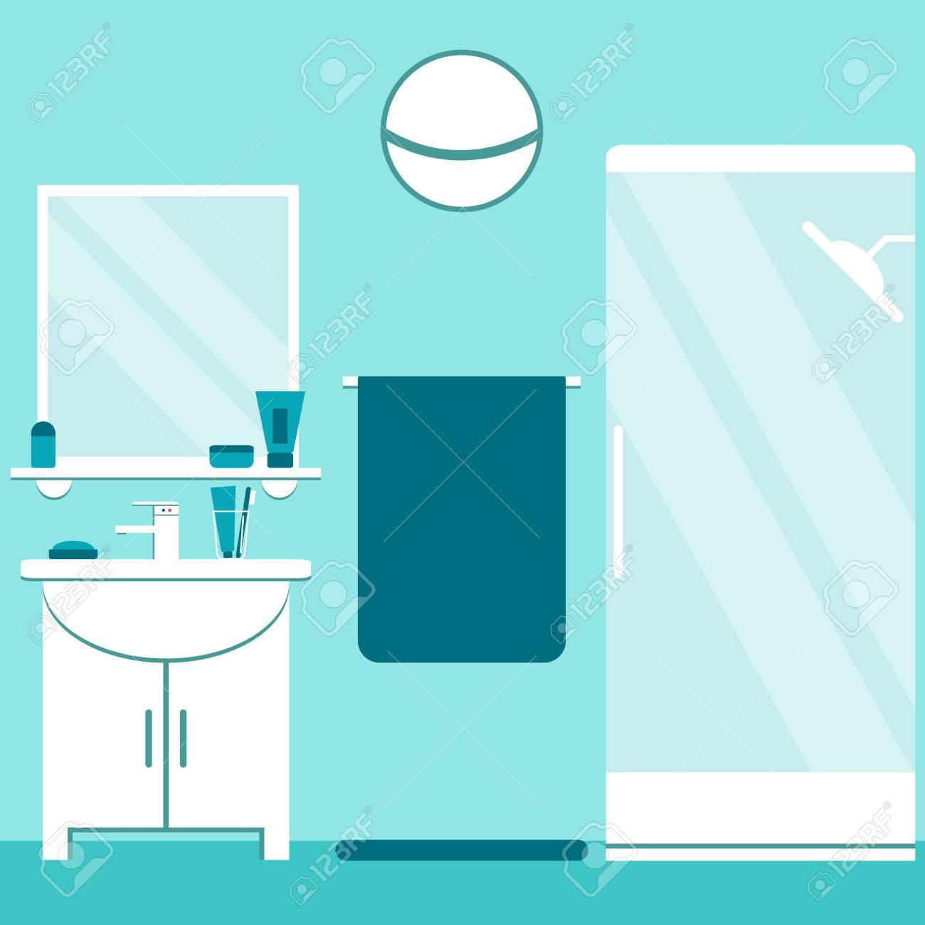Radio Fm Salle De Bain ~ moderne design d int rieur de salle de bain aux couleurs bleu et
