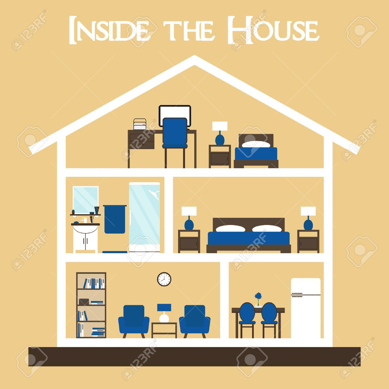House. House Interior. Inside The House. House Cross. Cute Dollhouse With  Furniture