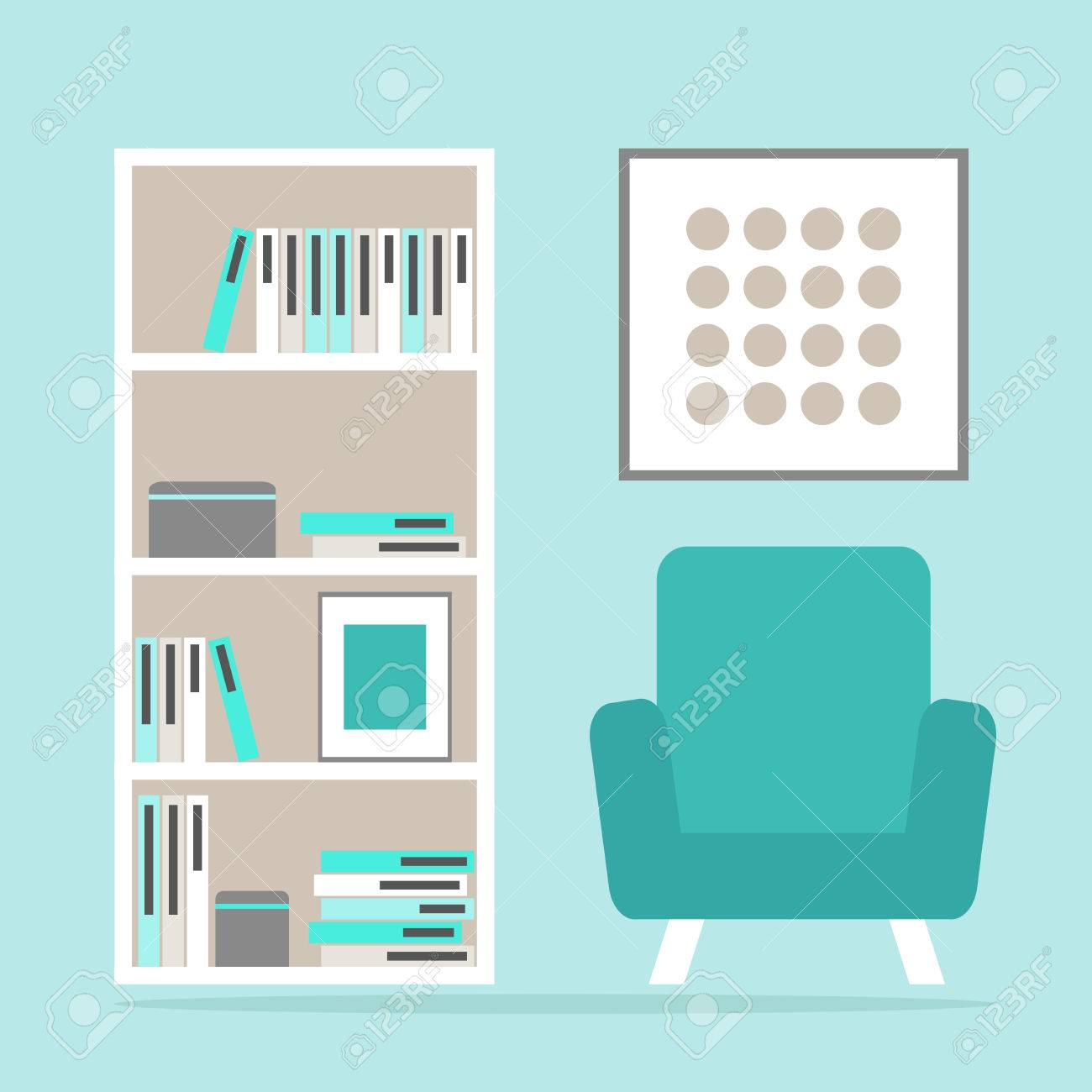 Sala De Estar Espacio De Lectura Interior Con Sillón Moderno ...