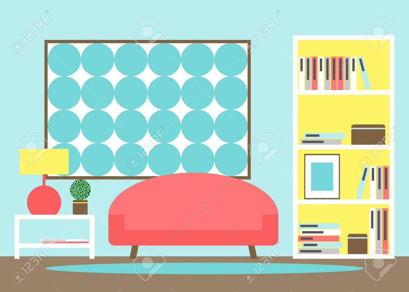 Sala. Moderna Sala De Estar Con Muebles De Interior. Sofá ...