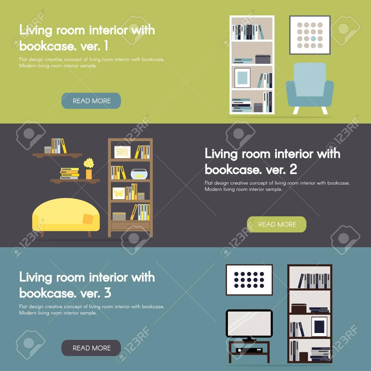 Moderne Wohnzimmer Innenraum Mit Bücherregal Horizontalen Flachen ...