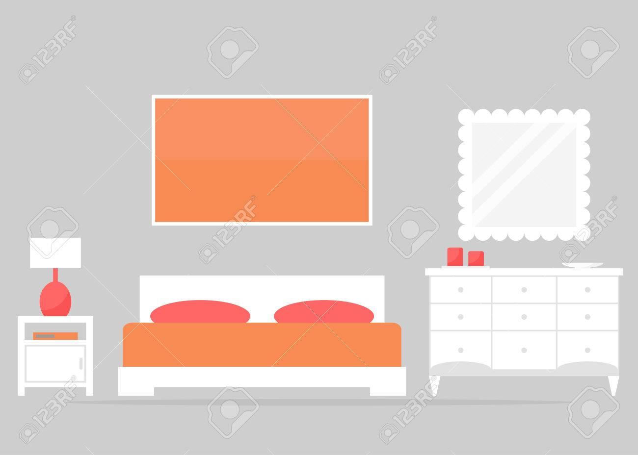Diseño Interior Del Dormitorio. Muebles Modernos Dormitorio: Cama ...