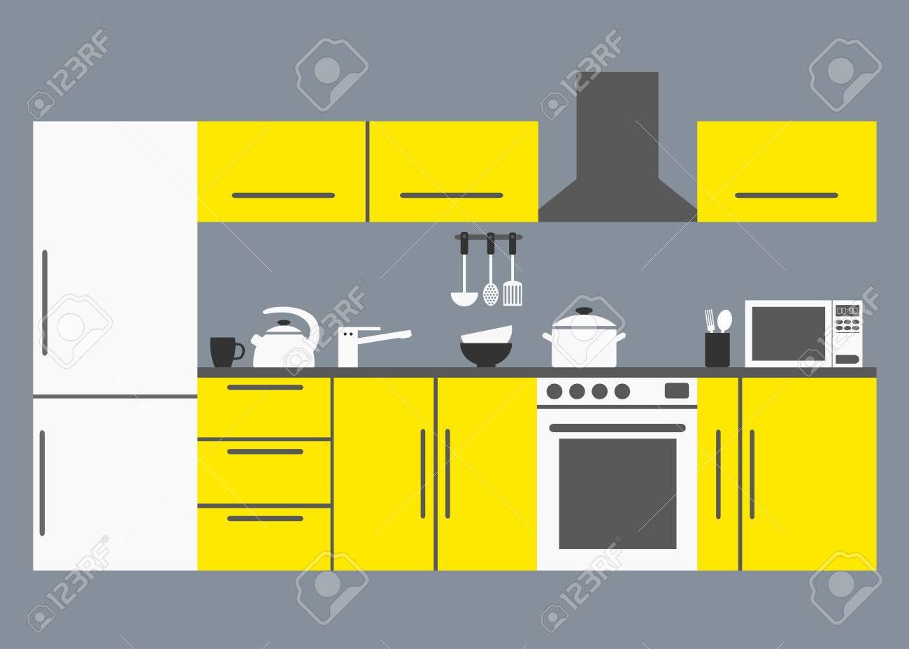 Große Küche. Moderne Küche Interieur Mit Küchengeräten, Tischen ...