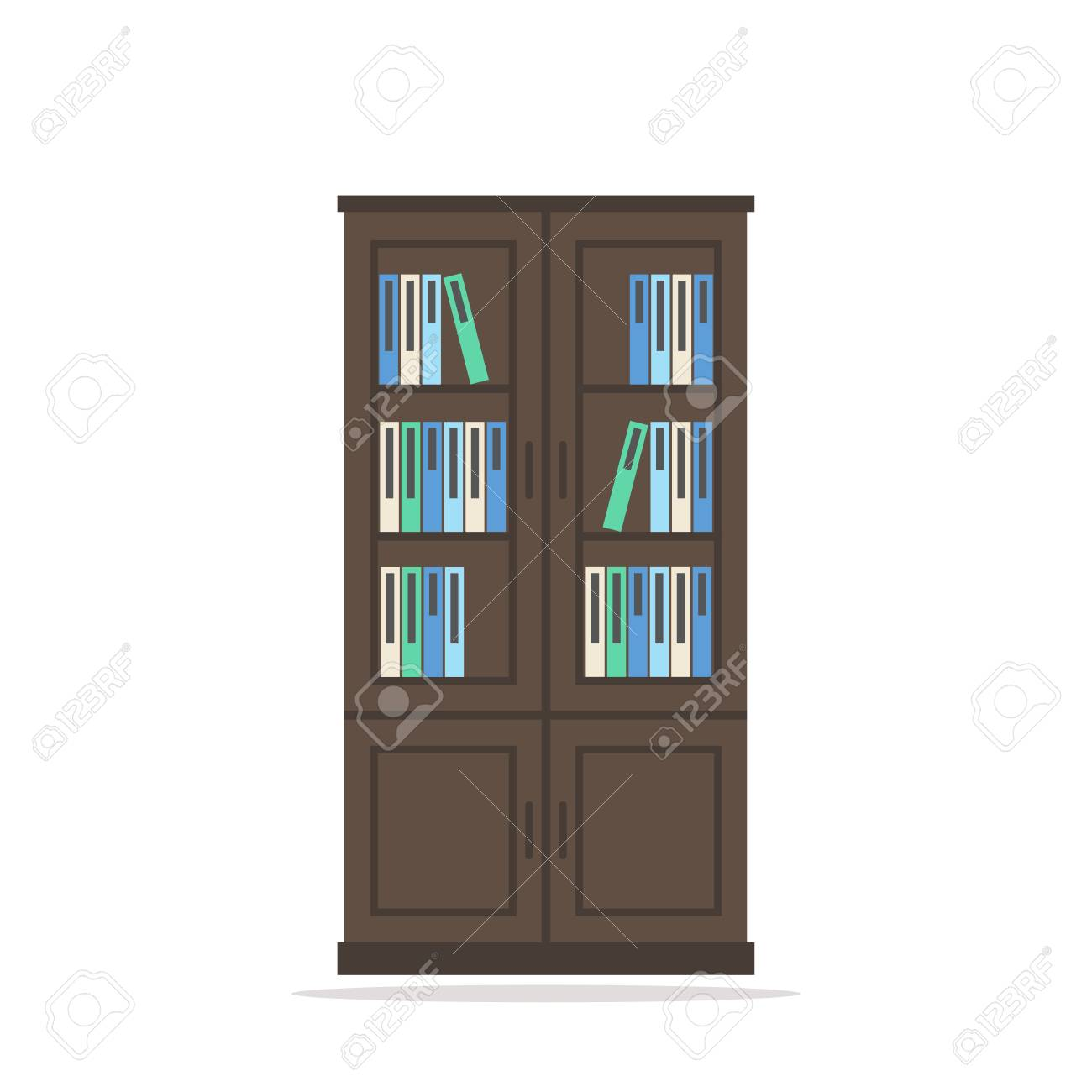 boekenkast gesoleerd boekenkast icoon grote houten boekenkast met boeken op een witte achtergrond