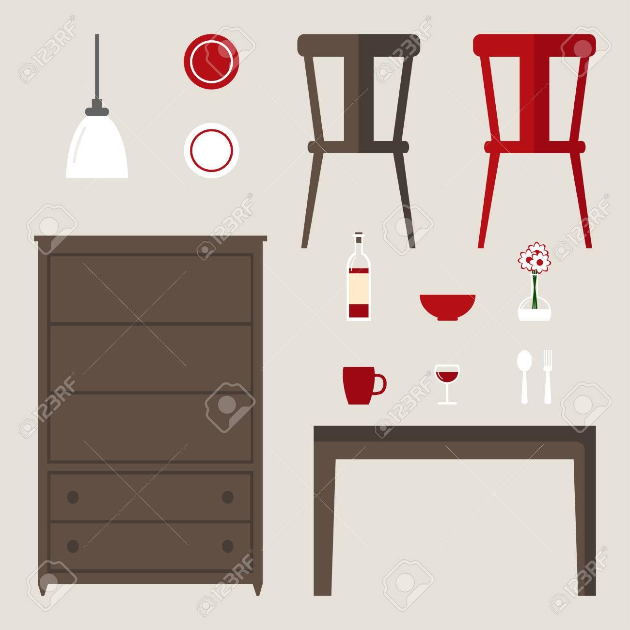 Elementos Comedor Aislaron El Conjunto. Muebles Modernos: Mesa ...