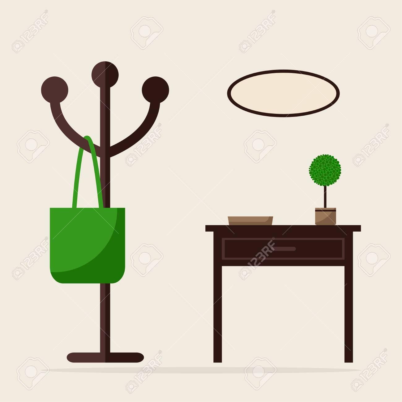 Aufhänger Und Tabelle Isoliert Symbole. Halle Zimmer ...