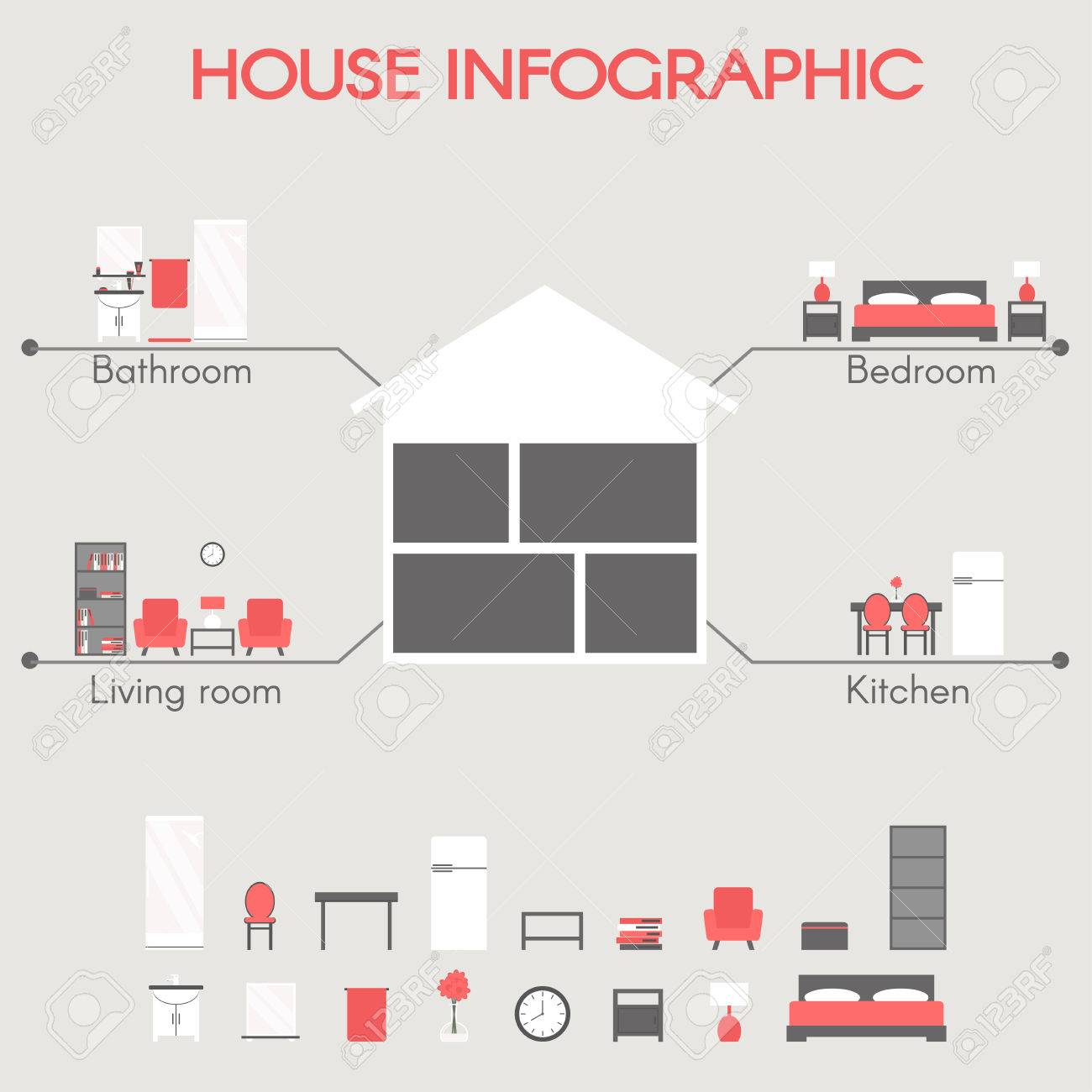 House infographic modern house rooms concept with bedroom bathroom house infographic modern house rooms concept with bedroom bathroom living room and kitchen ccuart Choice Image