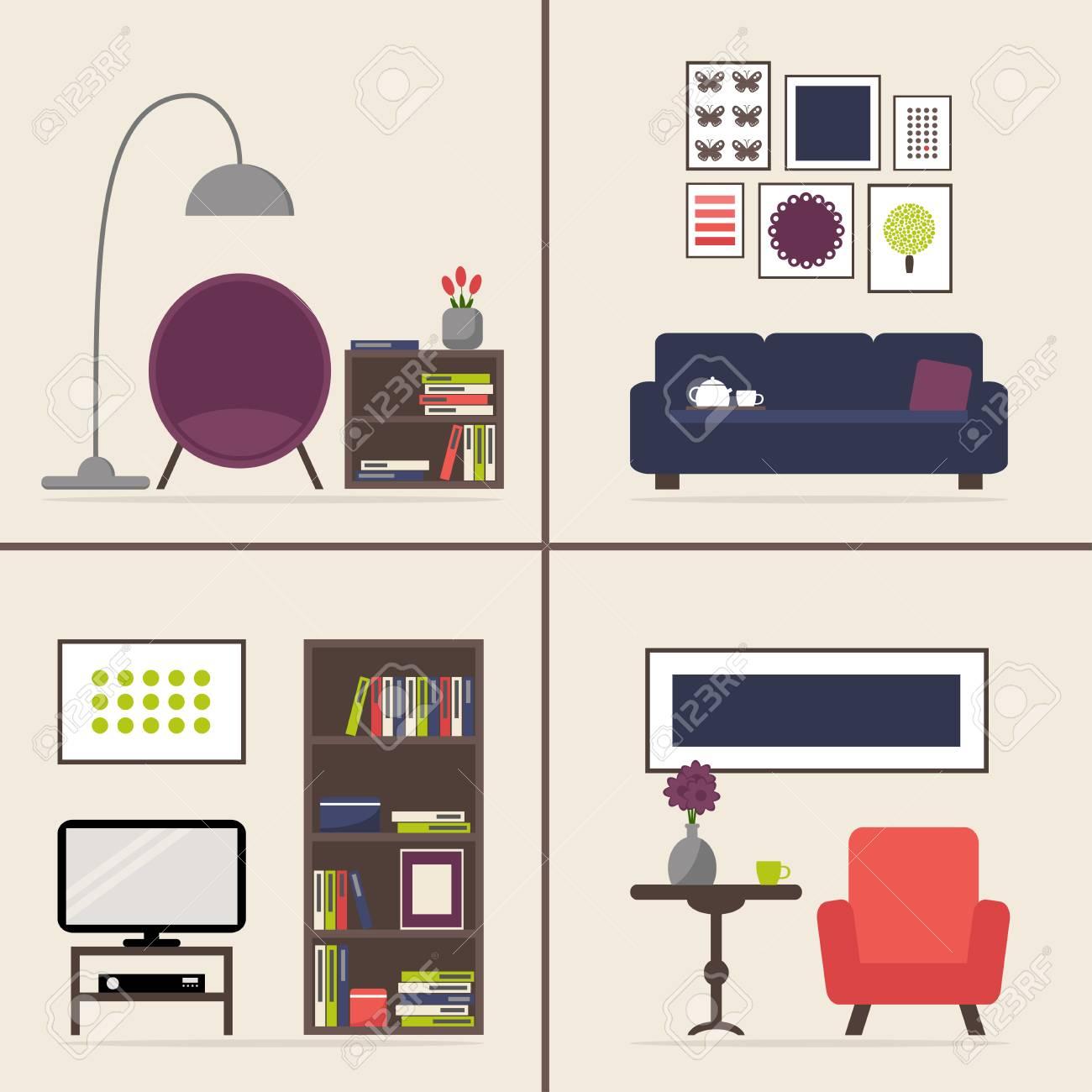 Wohnzimmer Inter Set. Möbel Isoliert Elemente. Wohnung Stil Abbildung.  Standard Bild