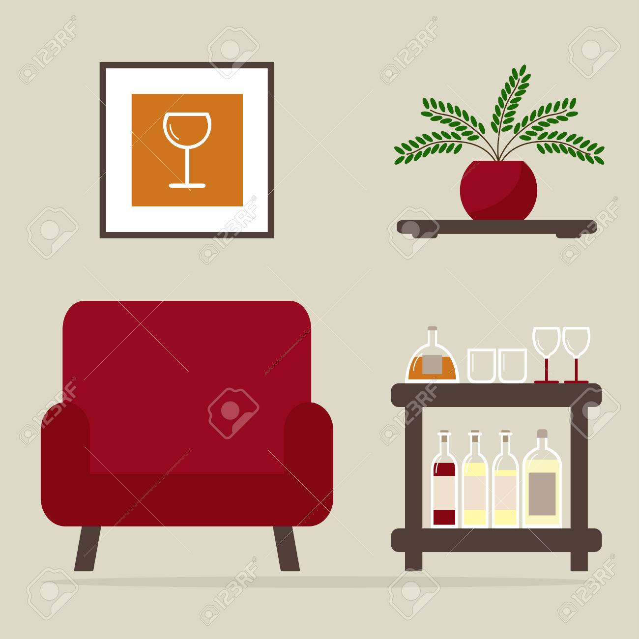 Armchair With Home Bar. Living Room Interior Design. Modern ...