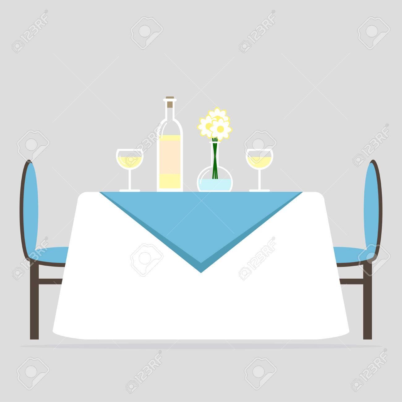 Style Salle Deux De À Et Nappe Manger Plat Avec Romantique Design Dîner Pour ChaisesLe Illustration D'intérieurUn DeuxTable nwOkX0P8