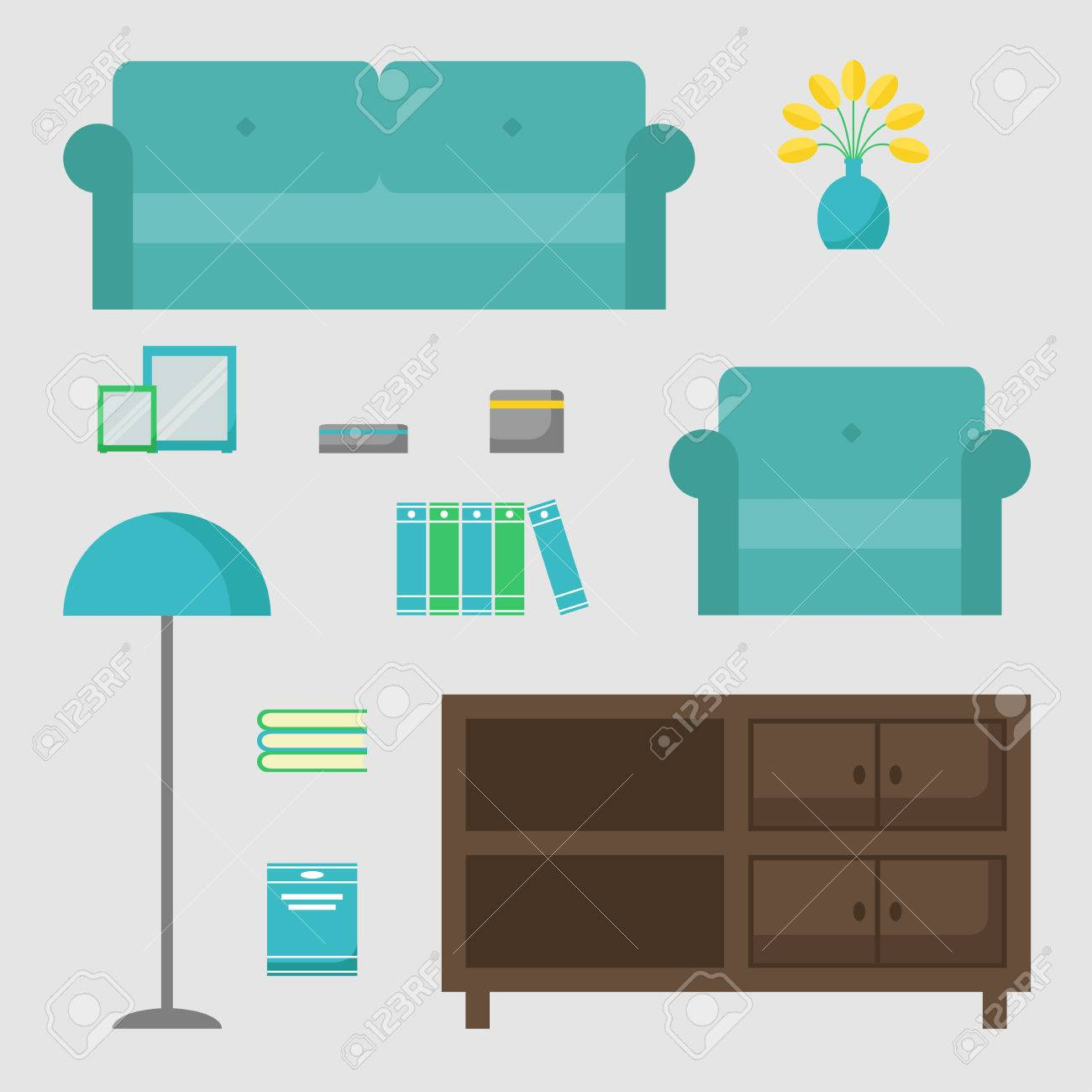Living Room Isolated Icons Set. Living Room Elements On Background ...