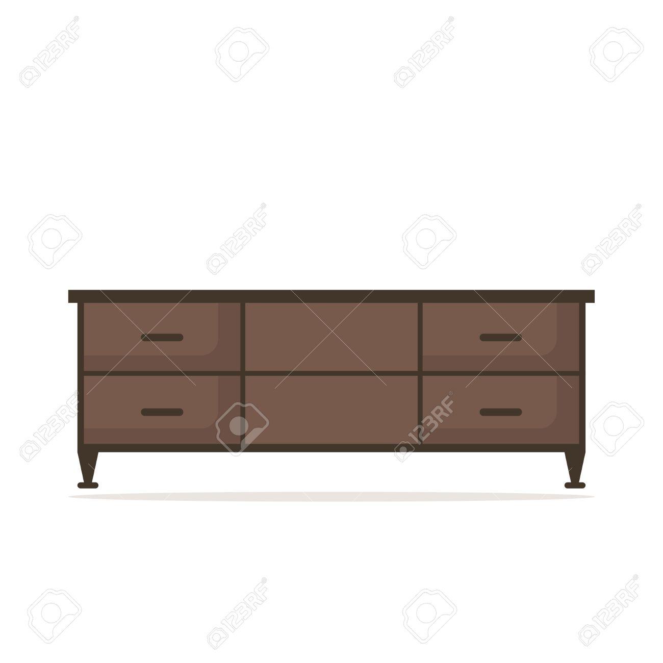 Aislado Mesa De TV Icono Sobre Fondo Blanco. Muebles Modernos Para ...