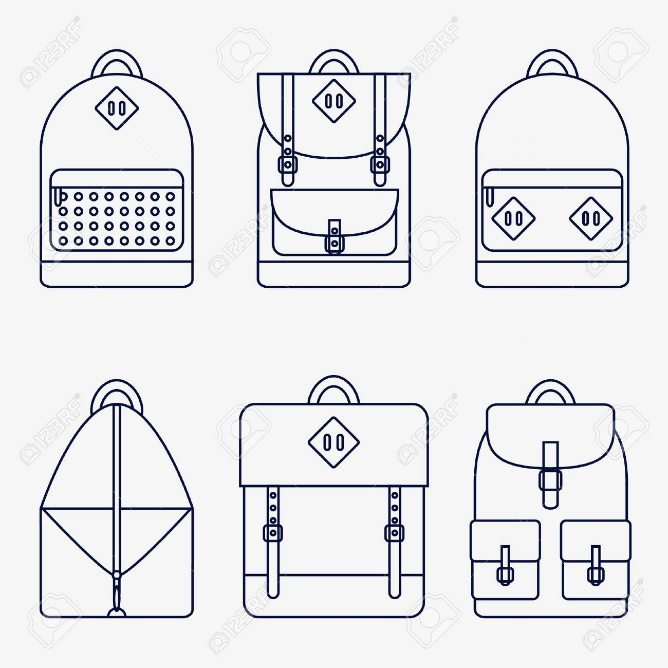 f5fb193228f3 Backpack Isolated Icons Set On Background. Backpack For School ...