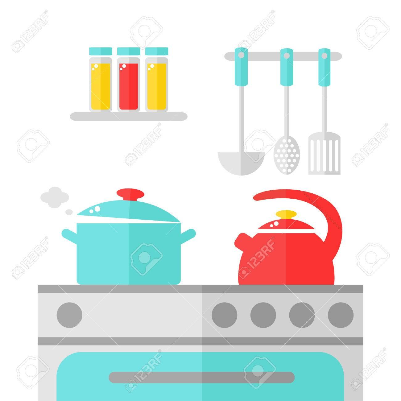 Cuisine Design D Interieur Kettle Et Casserole Sur La Cuisiniere