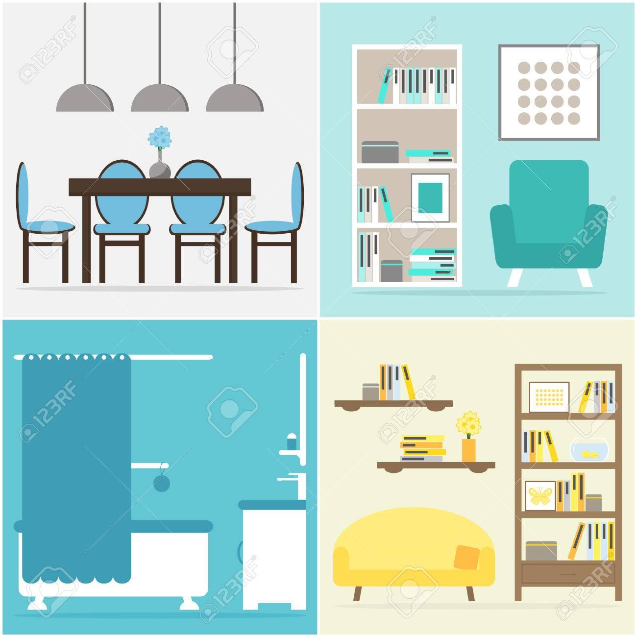 Standard Bild   Wohnung Einrichten. Wohnmöbel Kollektion. Möbel Für  Wohnzimmer, Wohnraum, Esszimmer, Küche, Bad. Flache Vektor Illustration  Design.
