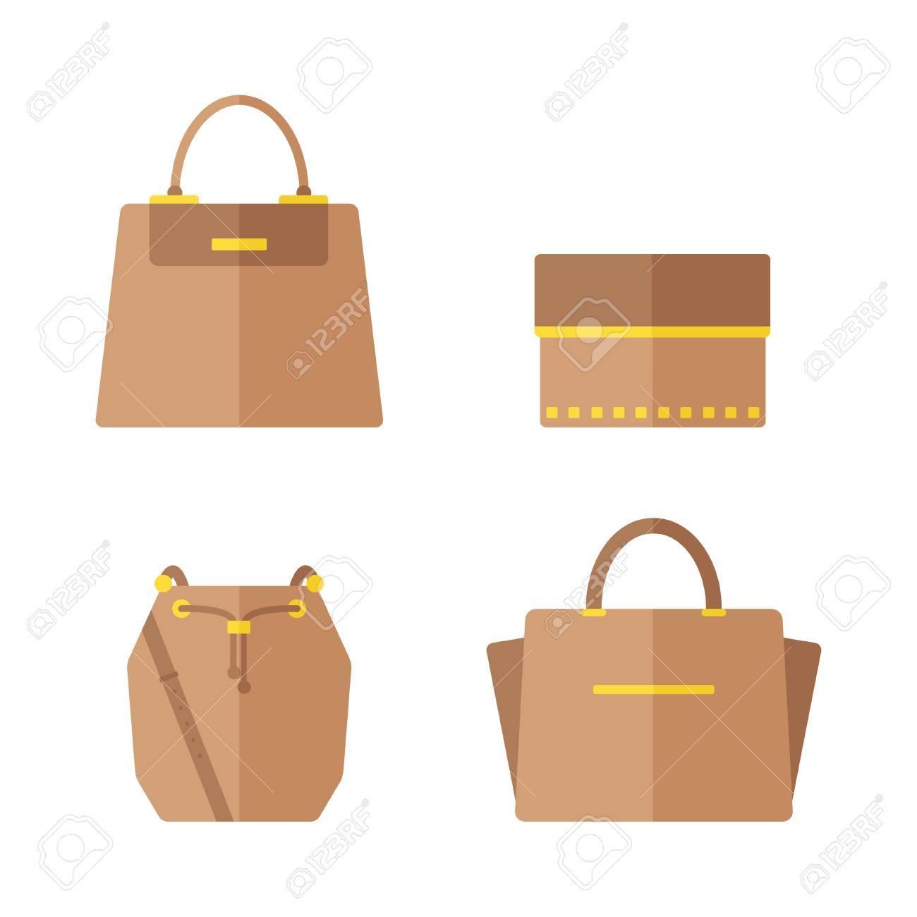 b8cb4f7df Foto de archivo - Icono de bolsa aislado sobre fondo blanco. Conjunto de  bolsas de mujer. Ilustración vectorial de diseño plano.