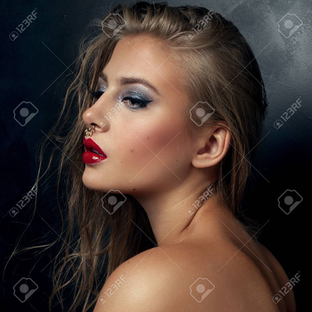 Beautiful Young Sexy Woman With Gold Nose Ring And Glamour Makeup Stock Photo Picture And Royalty Free Image Image 46403225