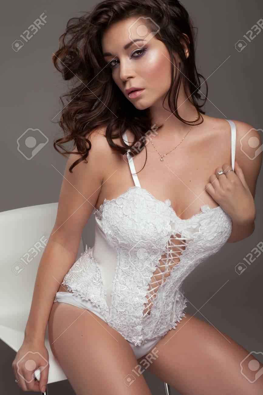 Glamorous lingerie white and brunette