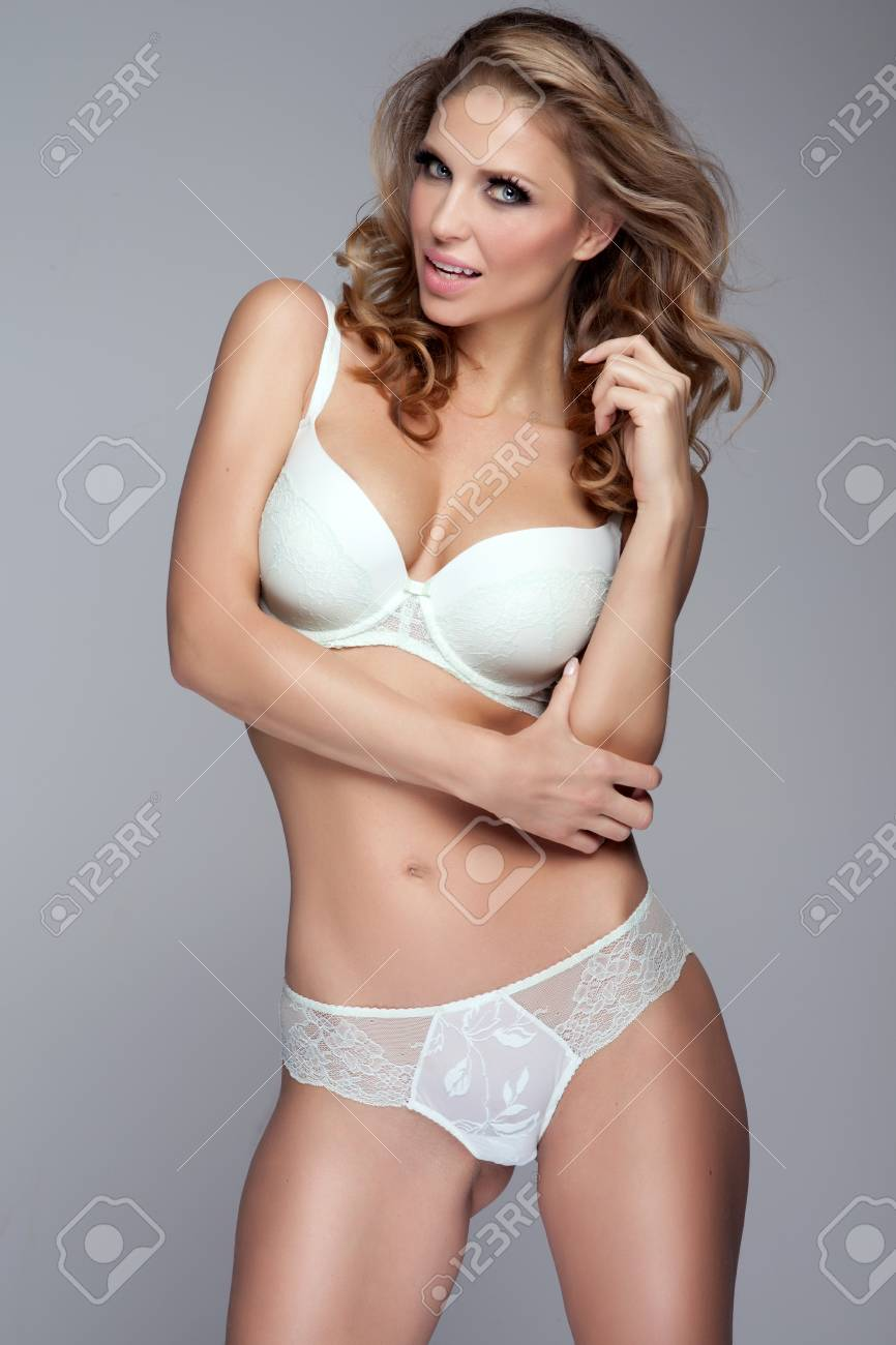 Curly blonde sensual lingerie