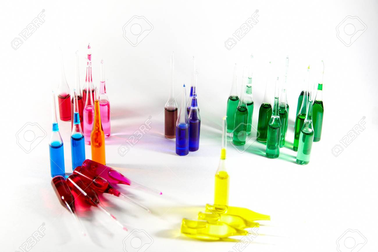 Colored ampuls at white blank Stock Photo - 19128807