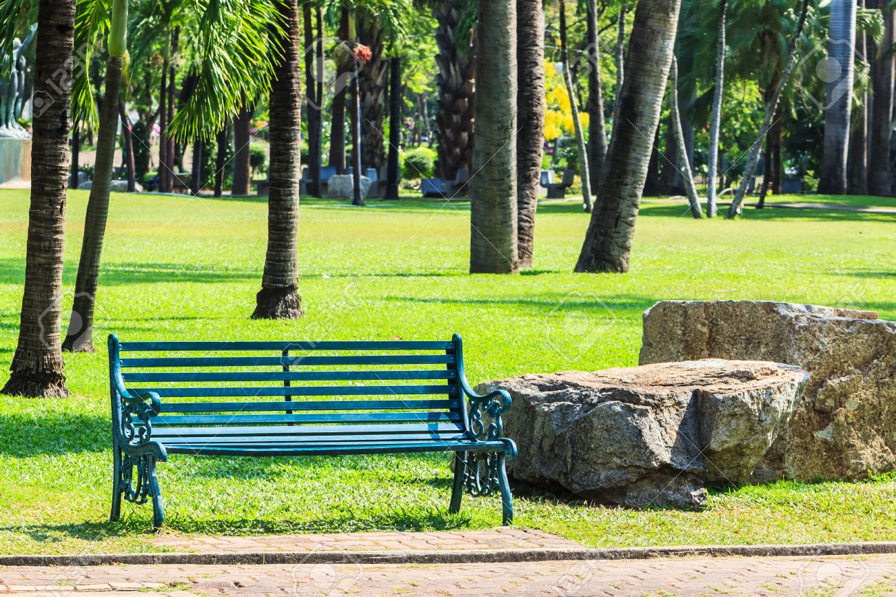 Green Bench In Palm Park Background Stock Photo, Picture And ... for Park Background With Bench  67qdu