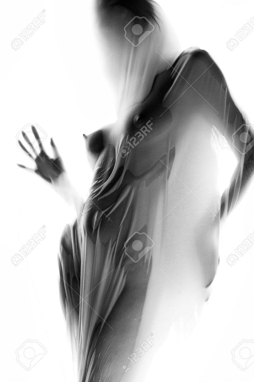 Anonymous studio  of girl covered in wet sheer cloth Stock Photo - 1289238
