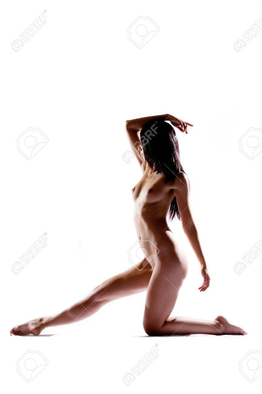 Silhouette of nude body performing dance move Stock Photo - 1319484