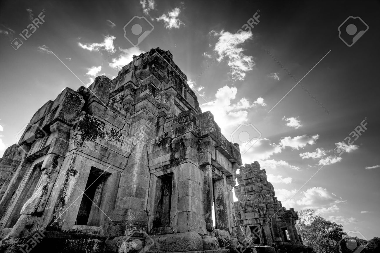 Ruins of asian ankor temple in cambodia in black white stock photo 2283118