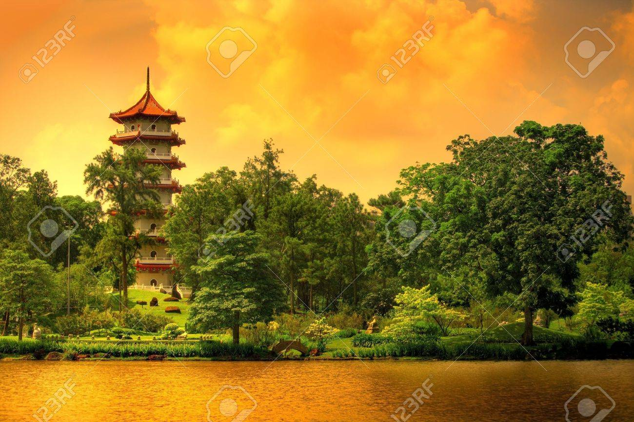 Pagoda of the Chinese gardens in Singapore Stock Photo - 2966600