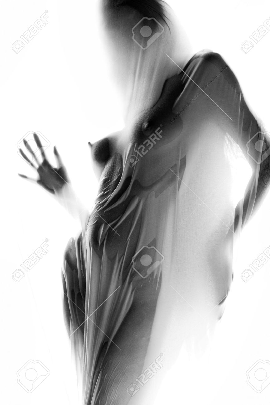 Silhouette of naked girl behind white cloth Stock Photo - 2966629