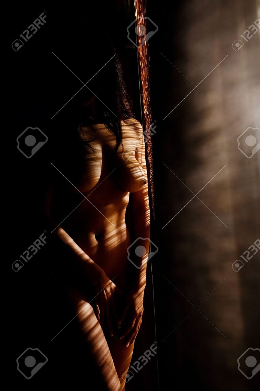 Anonymous nude of woman in low light near blinds Stock Photo - 3455035