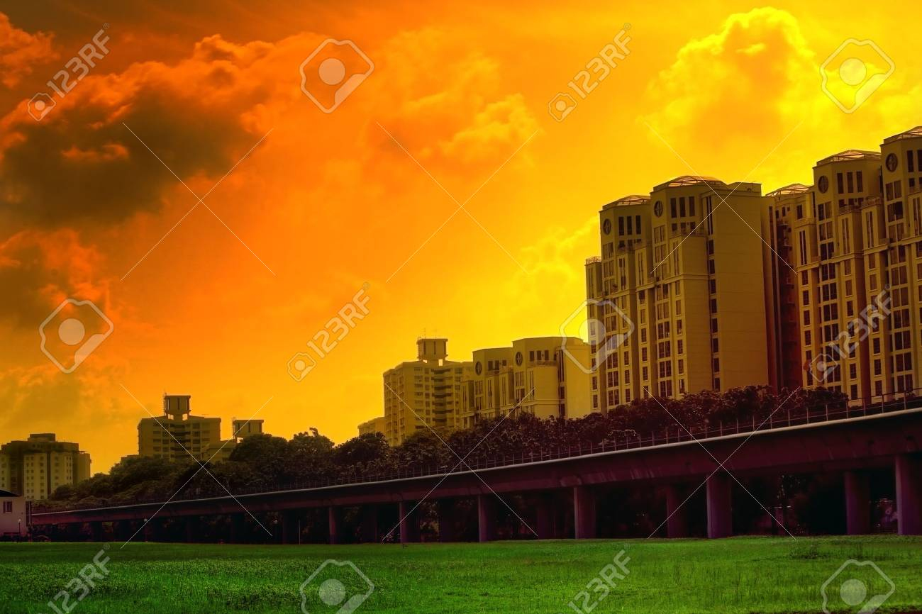 Sunset scene in Singapore with vivid colors Stock Photo - 3641742