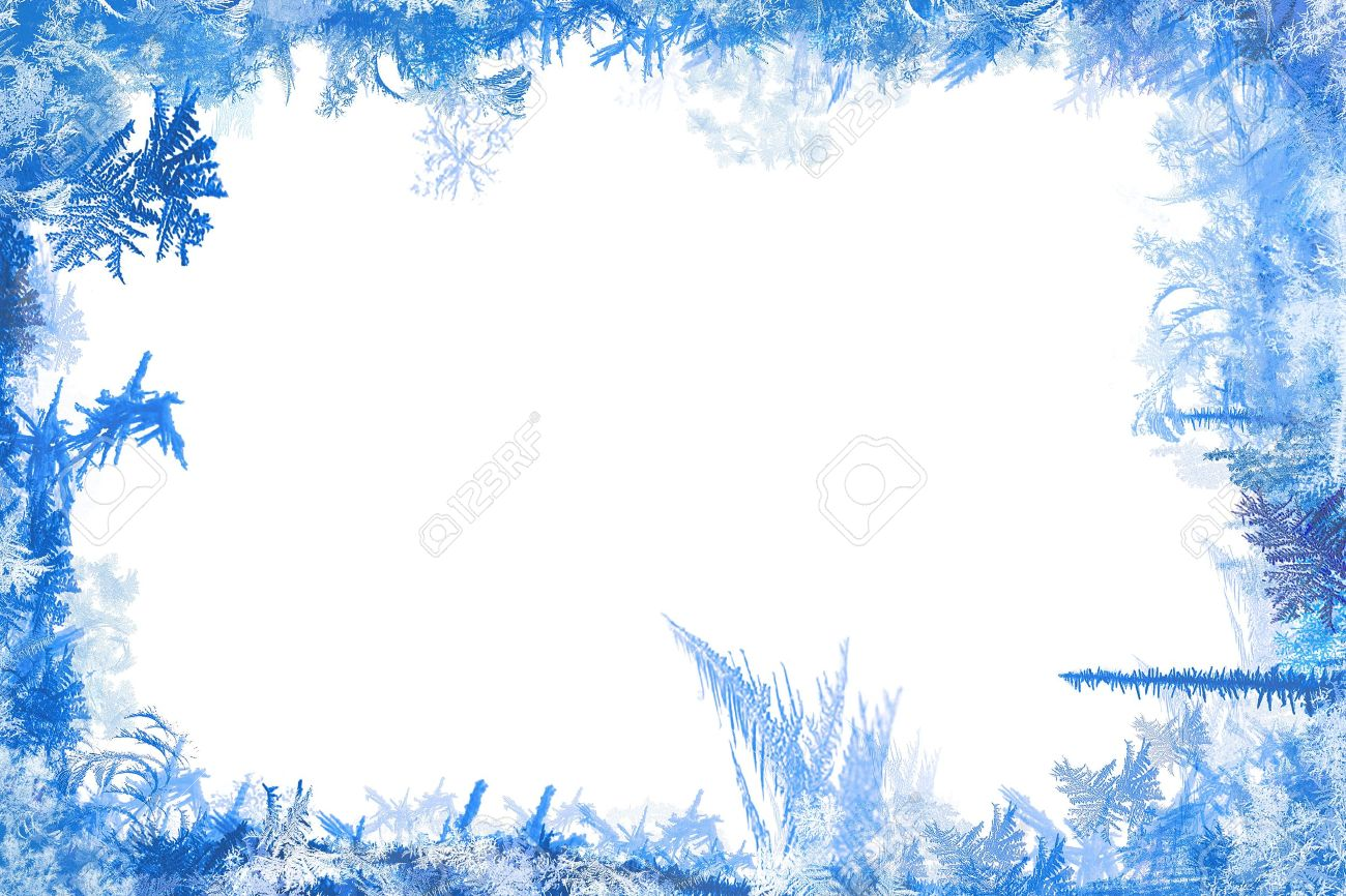 Winter border of frost and ice illustration shapes with white background Stock Photo - 7551261