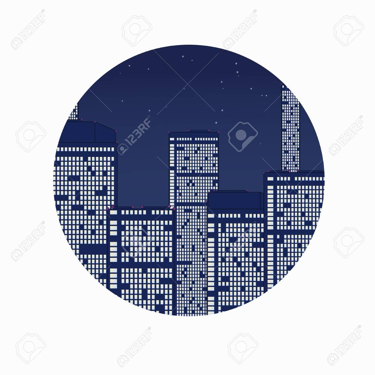 Night city under stars  Abstract vector illustraton Stock Vector - 20329495