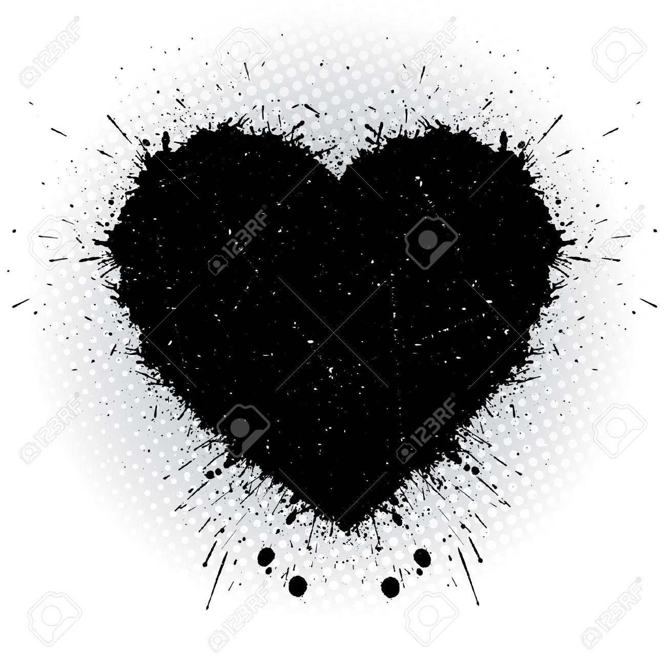 Corazón Negro De La Tinta Resumen Ilustración Vectorial