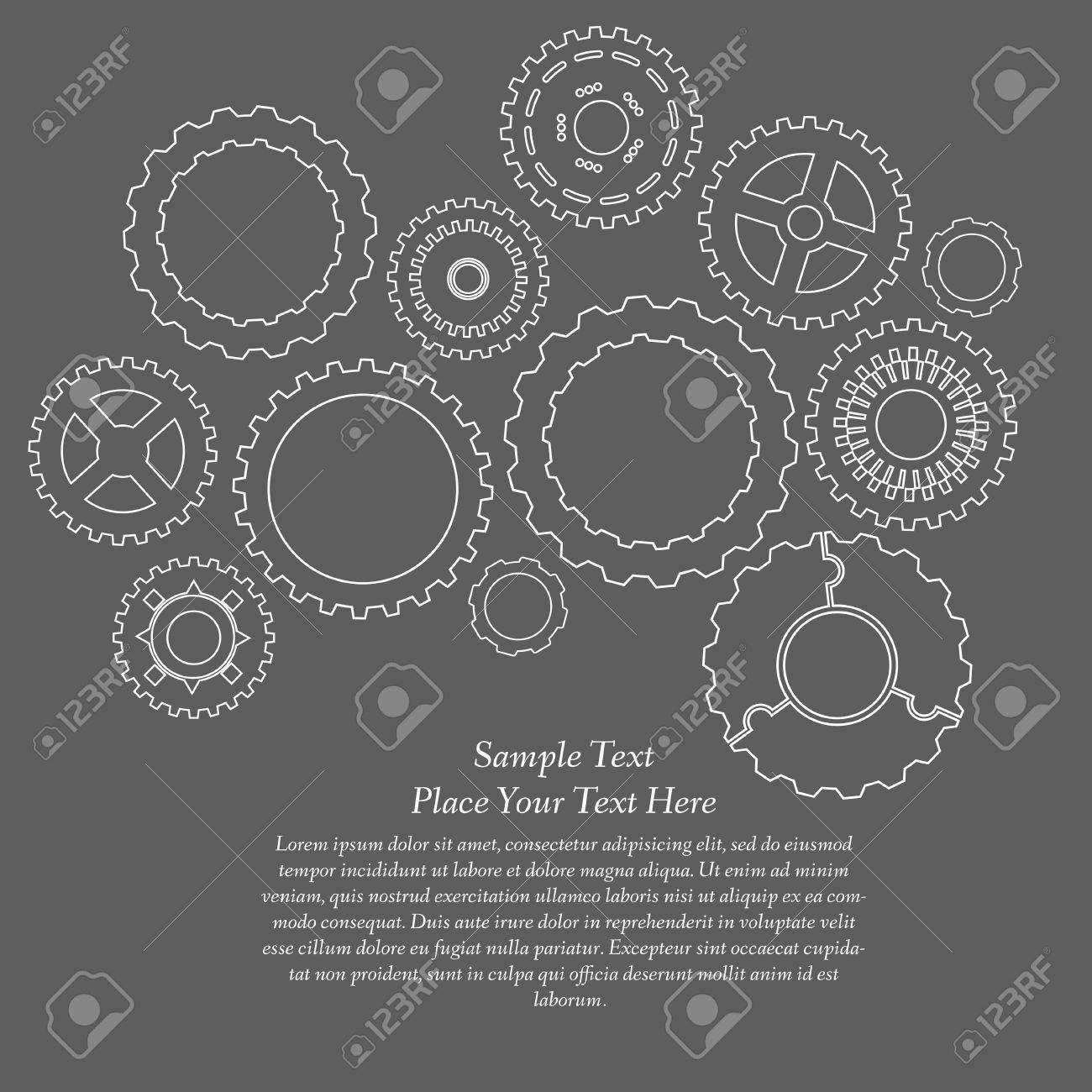 Gears cogs and pinions sketch. Abstract vector illustration. Stock Vector - 22303472