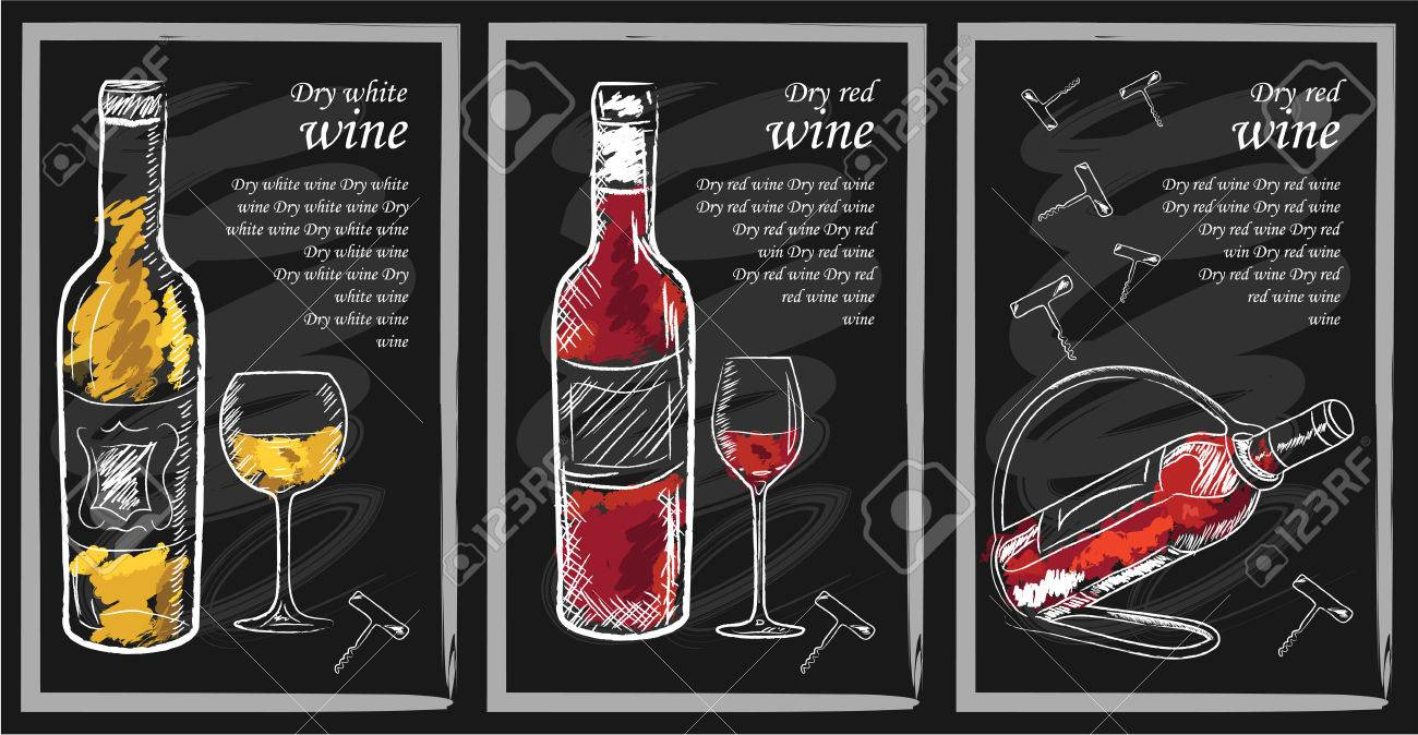 Drink menu elements on chalkboard. Restaurant blackboard for drawing. Hand drawn chalkboard drink menu vector illustration. wine list, drink menu board, glass of the white wine and red wine - 55799325
