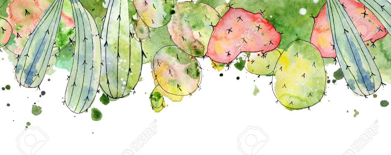 Tropical Cactus Arrangements, Borders, Frames Watercolor Cacti ...