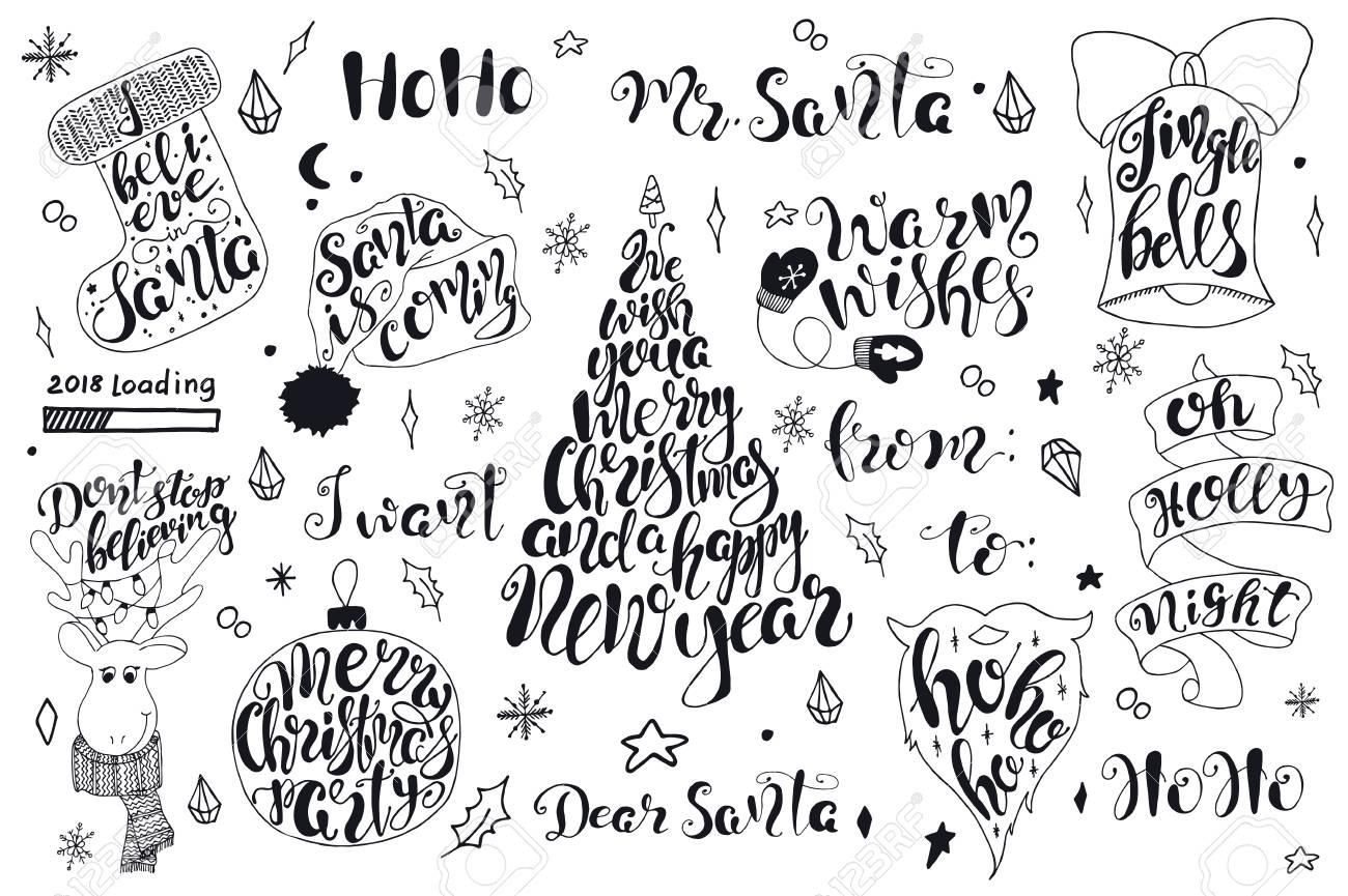Joyeux Noel Citations Lettrage Definir Des Dessins De Typographie