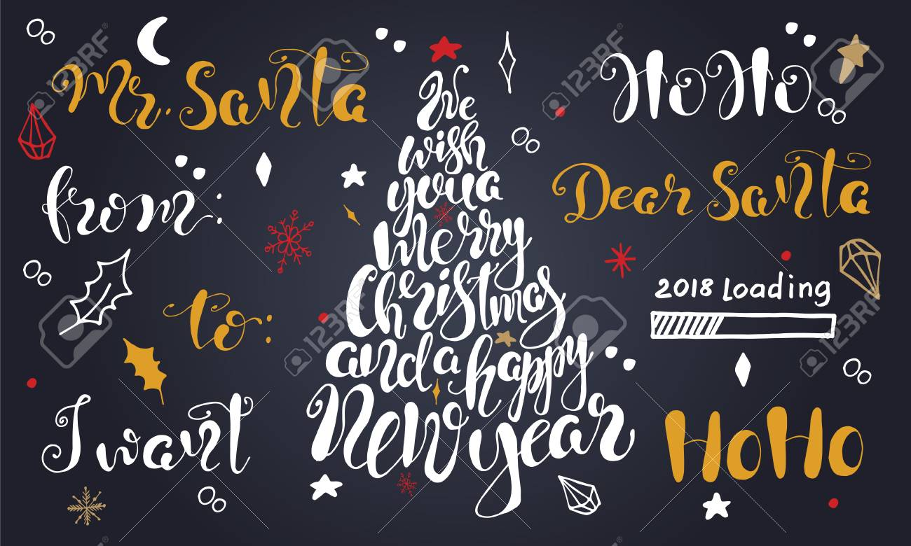 merry christmas quotes lettering set happy new year 2018 typography designs vector logo emblems
