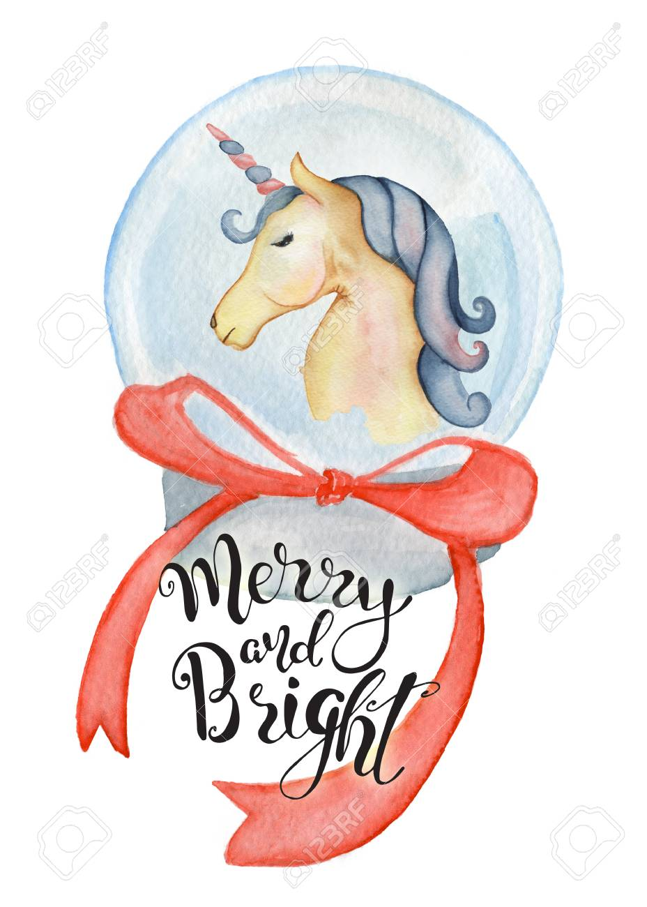 Cute Unicorn Inside Christmas Globe Watercolor Hand Drawn Merry Stock Photo Picture And Royalty Free Image Image 90833697
