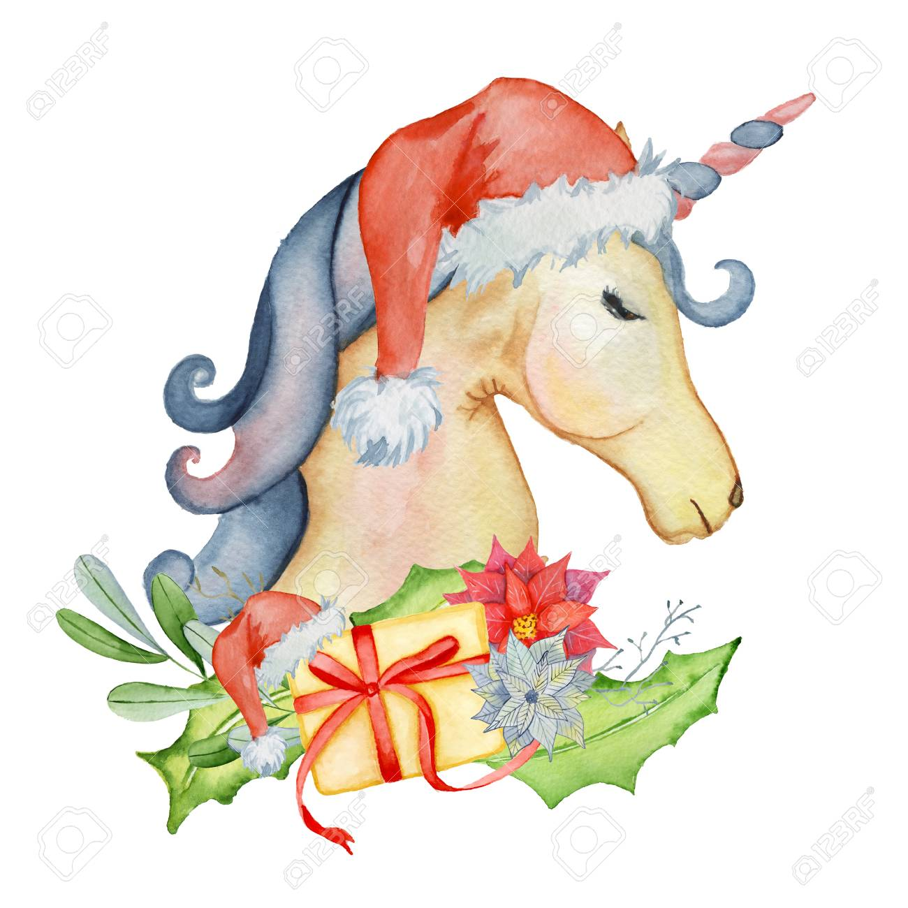 Christmas Horse Cartoon.Stock Illustration