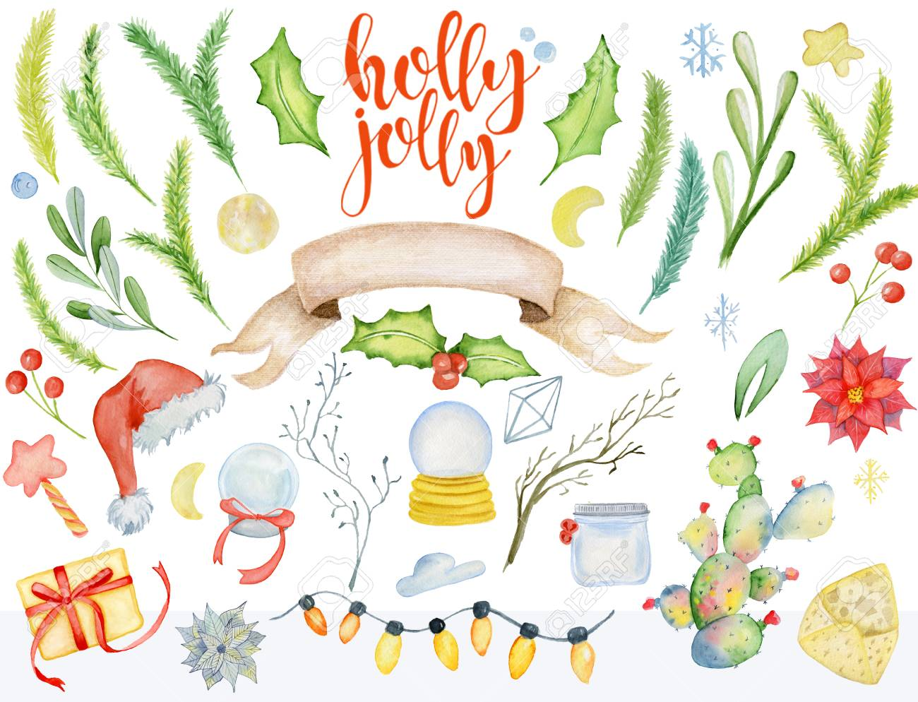 Merry Christmas Watercolor Floral Winter Elements. Happy New.. Stock ...