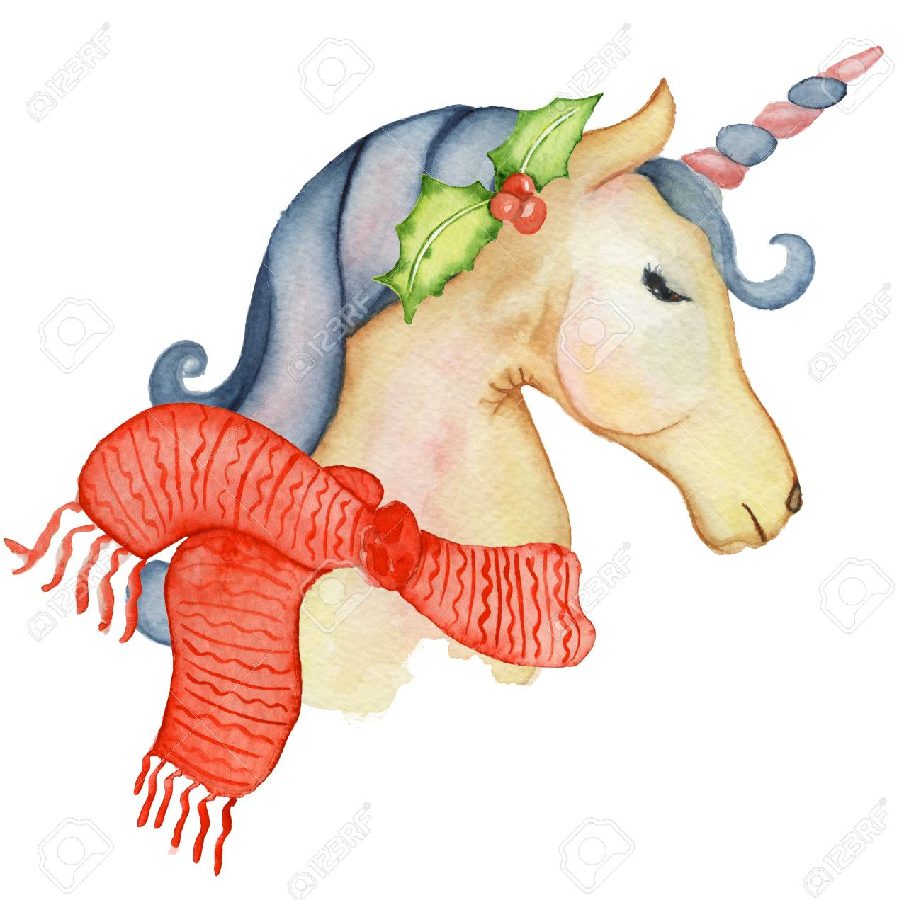 cute christmas unicorns watercolor set winter illustration princess unicorns poster trendy cartoon horse stock illustration - Christmas Unicorn