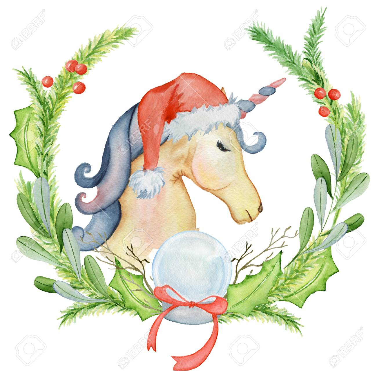 a65deeabe9718 Christmas Watercolor Unicorn With Floral Wreaths And Santa Hat ...